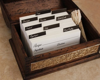 Rustic Recipe Box with 200 Letterpress Recipe Cards and Dividers