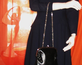 Amazing Vintage H L  Black Clutch Purse Leather with Long Chain Real  Sixties Made In USA