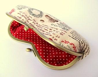 Glasses case Kiss lock purse Eyeglass case Manhattan Paris New York Rome Neutral Red Japanese fabric