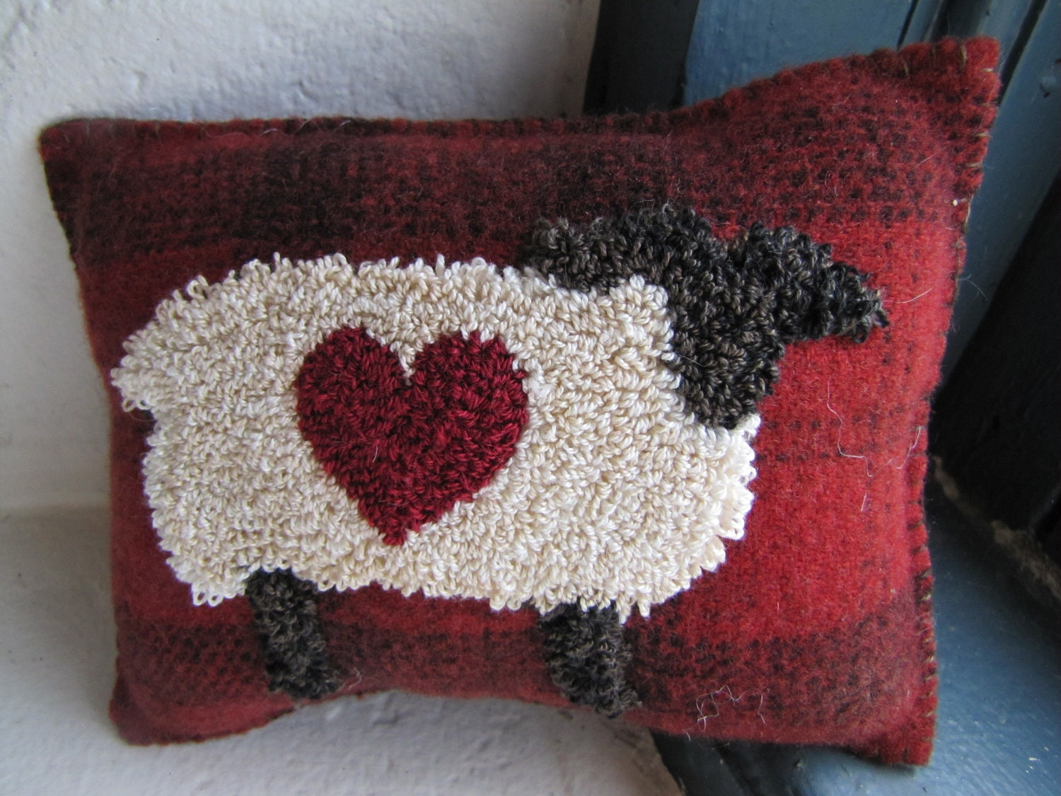 Primitive Punch Needle Pillow Molly By Thecooperscottage