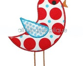 Applique Design - Tweeting Bird - Machine Embroidery - INSTANT DOWNLOAD