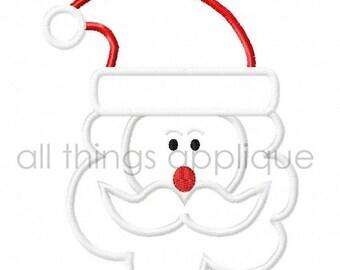 Santa Applique Design - Christmas Applique Designs - 3 Sizes - INSTANT DOWNLOAD