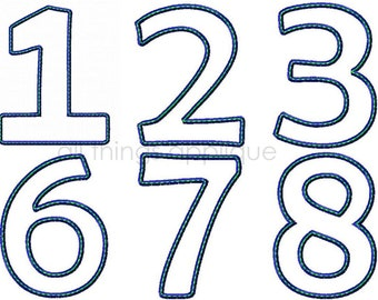 Birthday Number Applique Design - Numbers 0-9 - Sizes 4, 5, and 6 inch - INSTANT DOWNLOAD