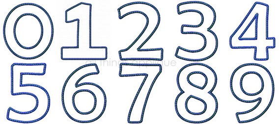 Birthday number applique design numbers 0 9 sizes 4 5 for Blueprint number