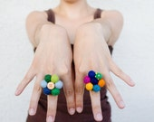 Statement Ring - Colorful Ring - Felt Flower Ring