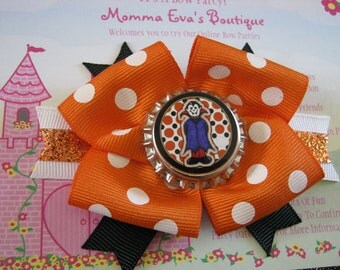 Momma Eva's -- Dracula In Polka Dotz  / Layered Boutique Hair Bow Design //  4 inch Style //  Ready To SHiP