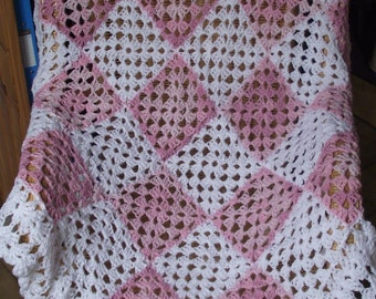 lacey hand croched granny square afghan / throw / pink / white