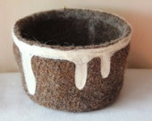 Felted Wool Bowl - Brown and White
