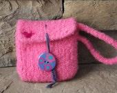 Hand Knit Felted Wool Wristlet - Needlefelted Bird - Pink Raspberry