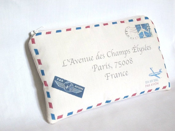 French Airmail Clutch--Red and Blue Striped Letter Envelope Purse