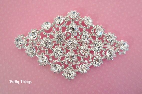 SALE!!! Diamond Shape Rhinestone Applique for Bridal, Formal, Costume, Couture Wear -- 1 pc