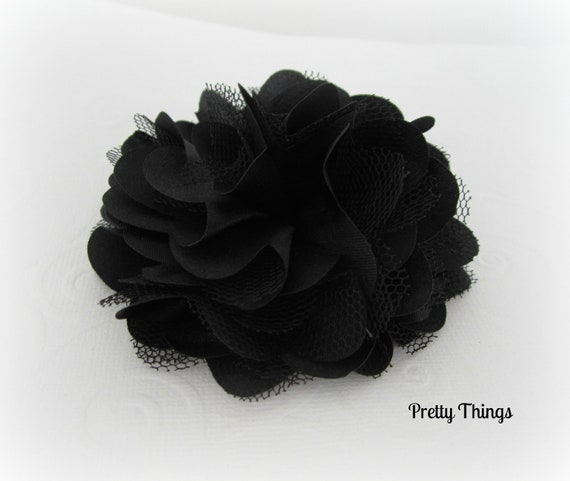 Black Satin and Tulle Flower -- 1 pc. GISELLE Collection.