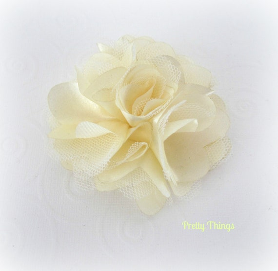 Cream Satin and Tulle Flower -- 1 pc. GISELLE Collection.
