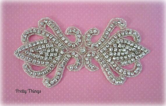 Rhinestone Applique for Bridal, Formal, Costume, Couture Wear -- 1 pc