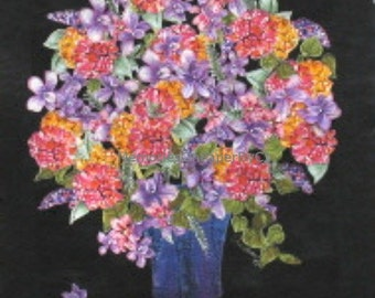 Quilted Original Fabric Artwork, Bouquet with Black, Pieced and Sewn with Beads