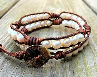White Freshwater Pearl Leather Wrap Bracelet classic double wrap with natural creamy white pearls