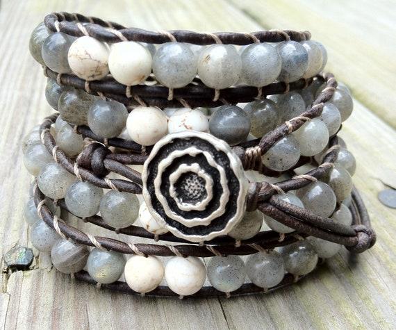 Labradorite Beaded Leather Wrap Bracelet 5X, Boho bohemian, beach jewelry, gray, natural earthy, gemstone bracelet