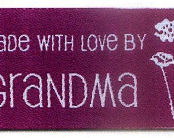 Sewing Labels, Made With Love by Grandma Labels,  NON CUSTOMIZABLE Sewing Labels, Quilting Labels, BL-LL2584