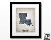 Louisiana State Map Art Print - Home Town Love Heart Map - Original Customizable Map Artwork Giclee Print