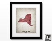 State Map Art of New York - Choose your City & Color - Original Custom Map Art Print Available in Multiple Size and Color Options