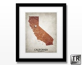 California Custom State Map Art Print - Home Town Love - Original Custom Map Art Print Available in Multiple Size and Color Options