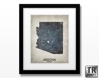 Arizona State Map - Home Is Where The Heart Is - Home Town Love - Original Custom Map Art Print Available in Multiple Size and Color Options