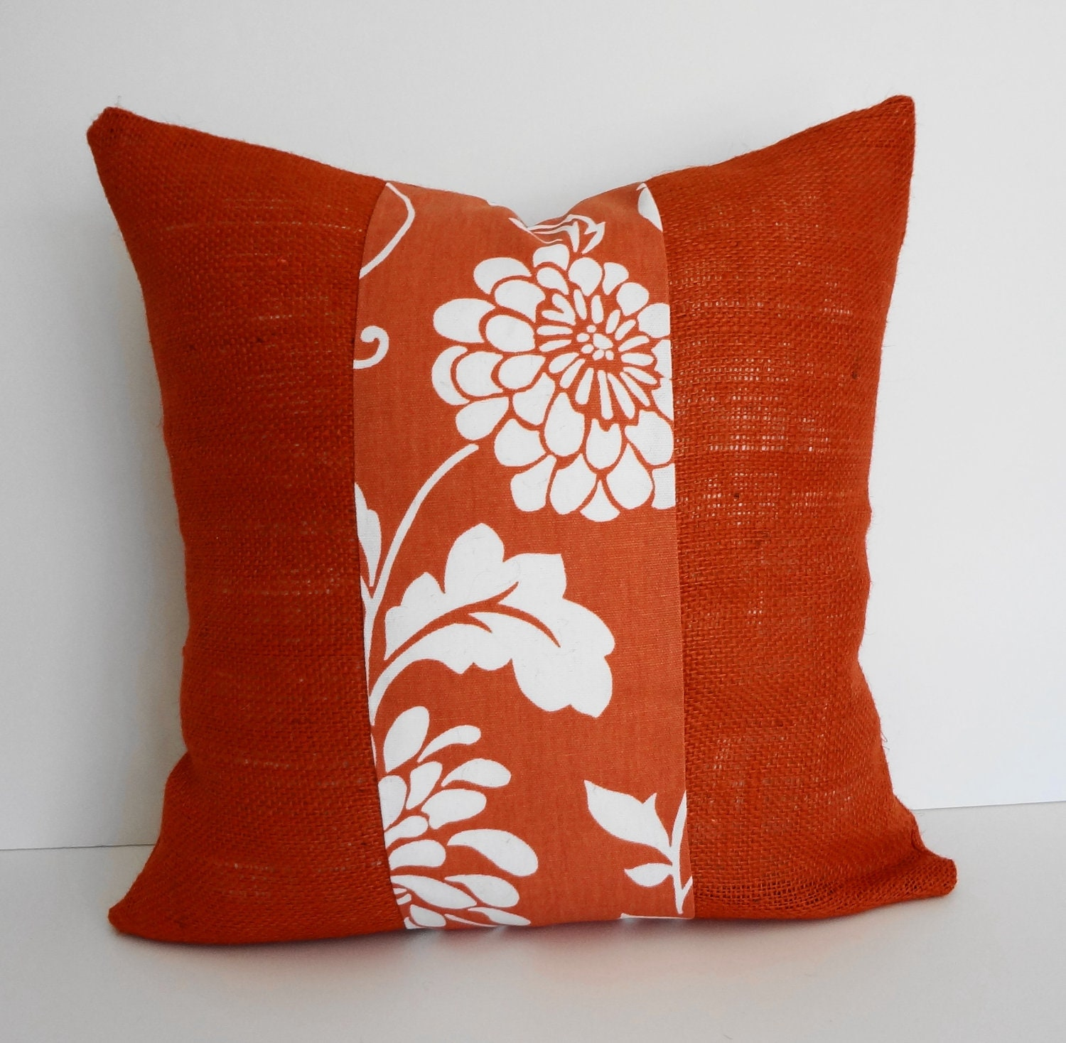 Throw Pillow Insert Cover : Coral Burlap Decorative Pillow Cover 18 x 18 Orange and