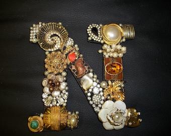 "Vintage and repurposed jewelry initial ""N"""
