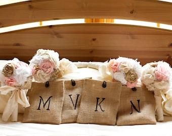 Shabby chic romantic rustic wedding bouquet package. Shabby chic burlap fabric flowers.