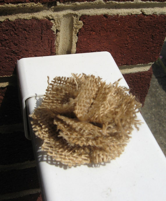 Petite natural burlap flower hair clip and brooch pin. Rugged bridal piece.