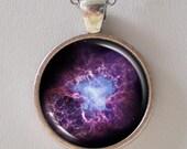 Nebula Necklace - Purple Crab Nebula Image Necklace - Galaxy Series (G