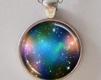 Astronomy Necklace -  Abell 520, Dark Matter Image - Galaxy Series (G030)