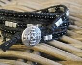 Wrap bracelet, 4x, black, glass beads, Miyuki seed beads