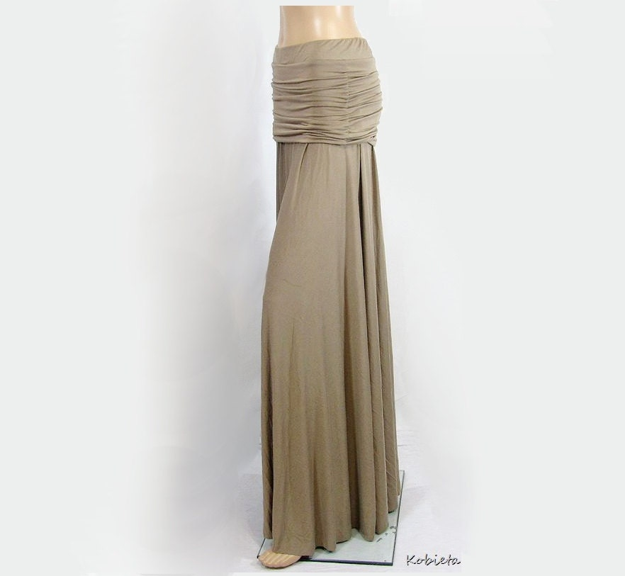Kobieta Ruched Hip Maxi Skirt in Bamboo Jersey~Womens Petite XS/SM/MED