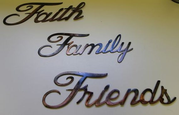 Family Friends Wall Decor : Faith family friends words metal wall art by