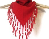 NOS Bright Red Handmade beaded fringed Bandana style Triangle Scarf PRICE REDUCED for the Holidays