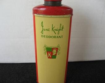 Vintage June Knight Deodorant Shaker Top Powder Tin