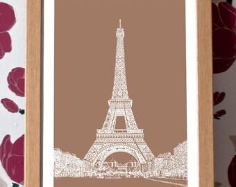 Eiffel Tower Poster – Paris Icons Custom Colour A3 Travel Print