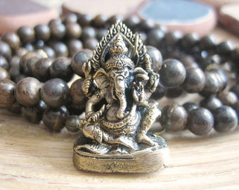 Ganesh Necklace - Beaded Necklace with Bronzite Beads and Brass Ganesha Pendant, Bohemian Mala