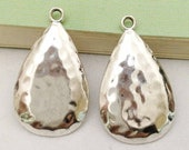 10pcs Antique Silver Hammered Tear Drop Charm Pendants Earring Findings 18x30mm A203-1