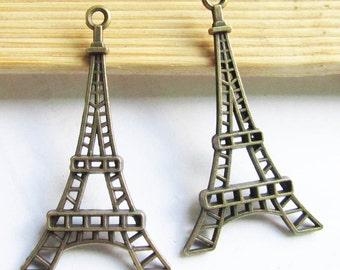 Eiffel Tower Charms -15pcs Antique Bronze Filigree Eiffel Tower Paris Charm Pendants 14x45mm D105-5