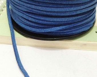 32ft -10 meters of Blue Korean Cashmere Faux Suede Imitation Leather 2mm