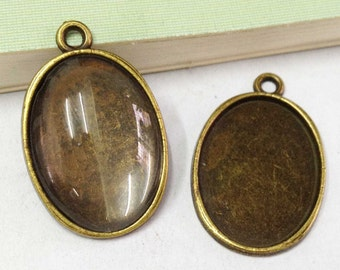 15pcs Antique Bronze Cabochon Base Setting Charm Pendants 18x25mm With 15 Clear Cover Cabs C305-4