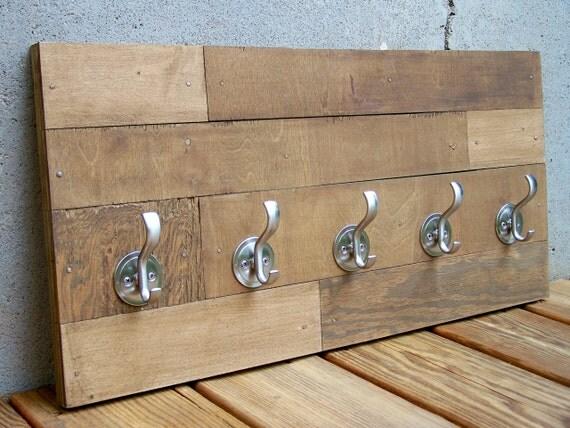 Reclaimed Wood Subway Tile Pattern Coat Rack