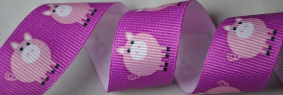 Pink Pigs 7/8 inch wide - 2 Yards
