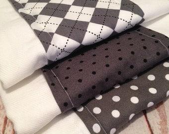 Burp Cloths, Set of Three - Boy - Gray - Argyle - Dots