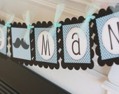 """Blue and Black Mustache or Bowtie Baby Shower Birthday """"Little Man"""" or """"It's a Boy"""" Banner - Party Pack Special- Free Shipping Over 65.00"""