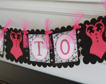 """Hot Pink and Black Scroll Damask Lingerie Bridal Shower Bachelorette """"Bride to Be"""" Banner -  Ask about our Party Pack Special"""