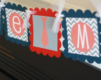 "Mustache Bash, Tie or Bowtie Baby Shower Grey Red Navy Chevron ""Little Man"" or ""Its a Boy"" Banner Orange Grey"