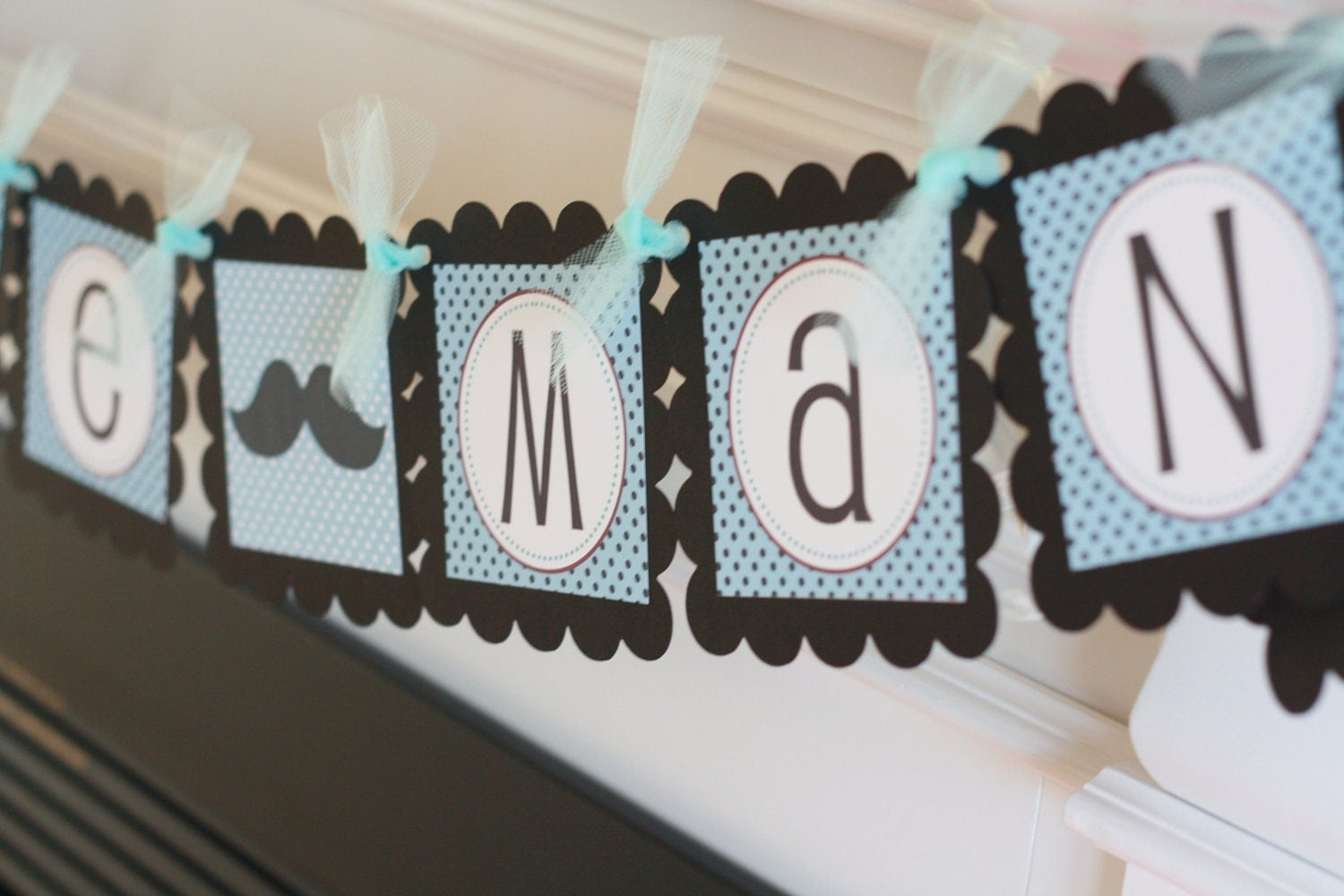 blue and black mustache or bowtie baby shower birthday